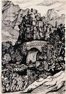 Corte, Corsica 1947 John Minton 1917-1957 Purchased 1959 http://www.tate.org.uk/art/work/T00237